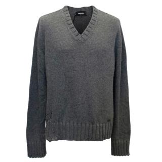 DSquared Cashmere Blend Grey V-neck Distressed Jumper