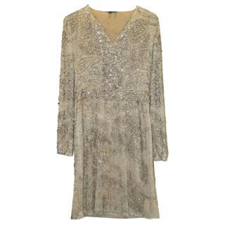 Gucci Nude Dress with Crystal Heavily  Embellished Lace Overlay