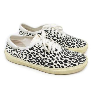 Saint Laurent Men's Black and White Leopard Print Trainers