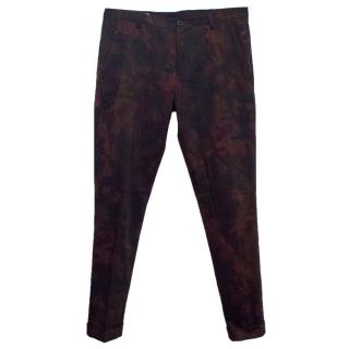 Dries van Noten Camo Burgandy Cotton Trousers