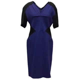 Roland Mouret Blue and Black Pencil Dress