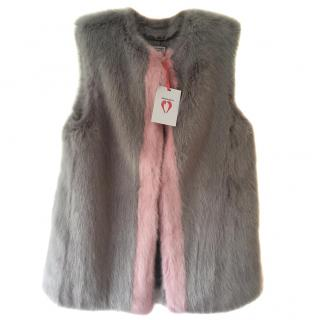 Shrimps Perry New Grey & Pink Faux Fur Gilet