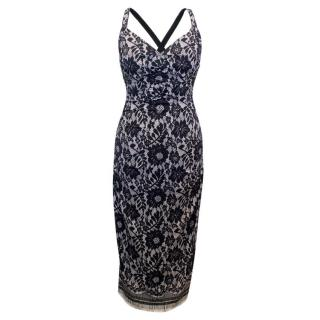Dolce & Gabbana Black and White Lace Print Fitted Dress
