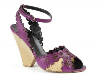 Moschino purple leather & raffia wedge sandals