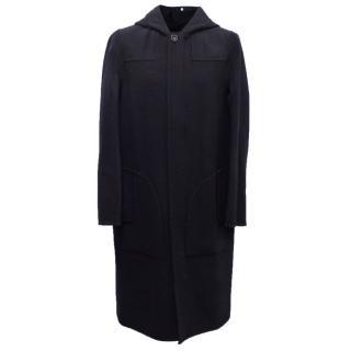 Acne Men's Navy Blue Hooded Coat