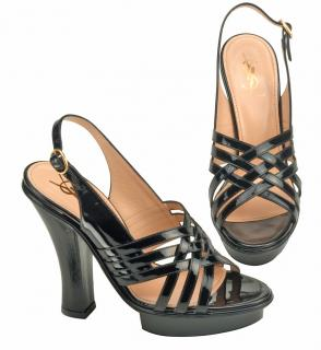 Yves Saint Laurent Black Patent Platform sandals