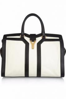 Yves Sant Laurent Calfskin Large Cabas ChYc Black & White Tote