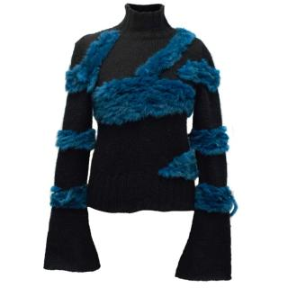 Roberto Cavalli Black and Blue Mohair Sweater