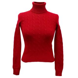 Ralph Lauren Slim Fit Red Cashmere Cable Knit Turtleneck