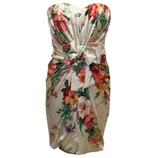 Dolce & Gabbana Nude Silk Dress with Floral Pattern and Bow