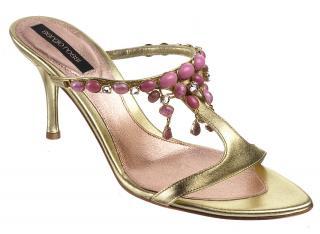Sergio Rossi gold metallic leather & pink stone diamante mules