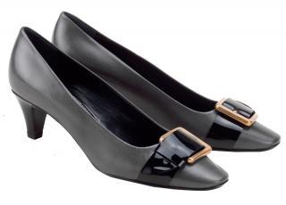 Yves Saint Laurent Charcoal Grey & Black kitten heel pumps