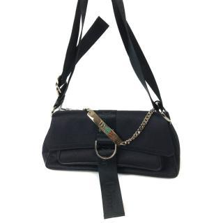 Christian Dior Black Handbag with Chrystal Buckle