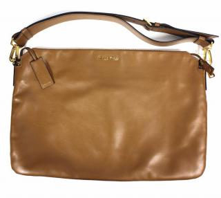 Miu Miu Large Calfskin Leather Handbag in Brown