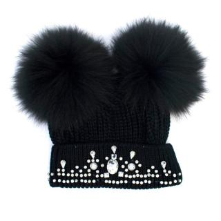 Black Beanie with Fur Pom Poms and Diamantes