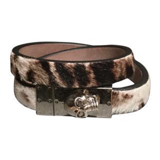 Alexander McQueen Leopard leather bracelet