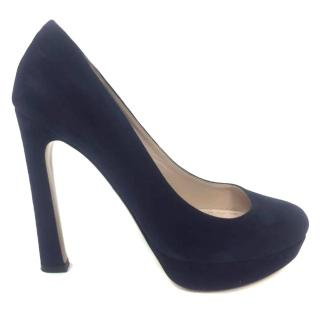 Miu Miu Navy Blue Suede Pumps