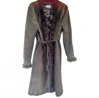 Versace Young Suede Coat Trimmed with Faux Fur