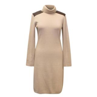 Kate Spade Beige Turtleneck Dress with Elbow Patches