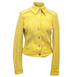 Versace Jeans Couture Yellow Wool Blend Tweed Jacket