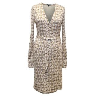 Gucci Printed White and Tan Wrap Dress