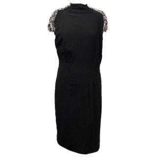 Alberta Ferretti Black High Neck Dress with Embellishments