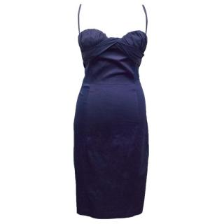 Just Cavalli Blue Fitted Dress with Ruching