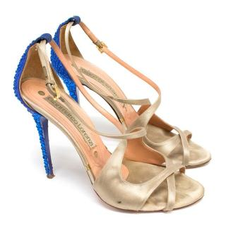 Gianmarco Lorenzi Nude Satin Pumps with Blue Crystals