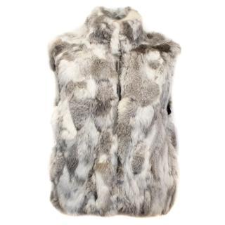 Fanous White and Grey Fur Vest