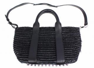 Alexander Wang Woven Raffia Tote Bag in Black
