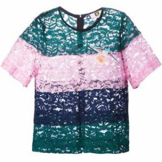 MSGM Layered Band Green Pink and Blue Lace Top With Bird Patch Detail
