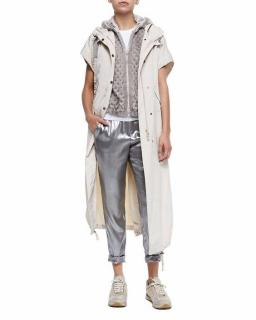 Brunello Cucinelli silver metallic silk trousers