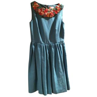Red Valentino Blue Floral Collar Dress