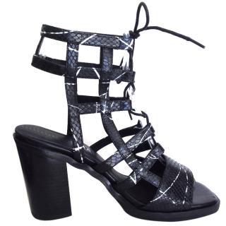 Solsana black gladiator high sandals