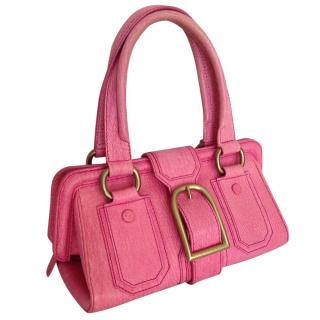 Celine pink leather bowler handbag