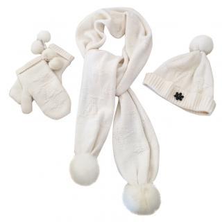 Louis Vuitton cream cashmere scarf, hat & gloves