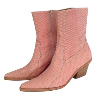 Kalogirou Snake Skin salmon pointed booties