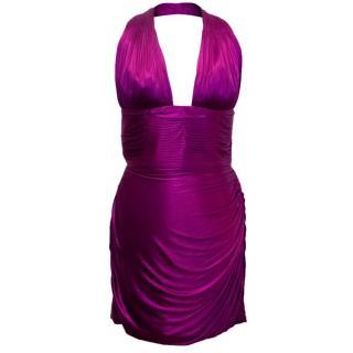 Roberto Cavalli Purple Halter Neck Mini Dress