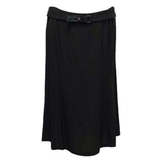 Gucci Black Silk Belted Skirt