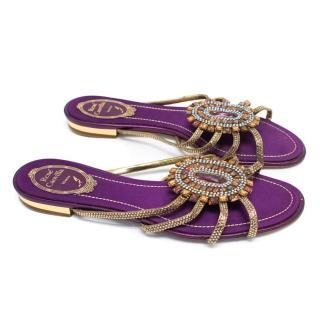 Rene Caovilla Purple Embellished Sandals