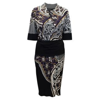 Marc Cain Multicolour Graphic Printed Fitted Dress