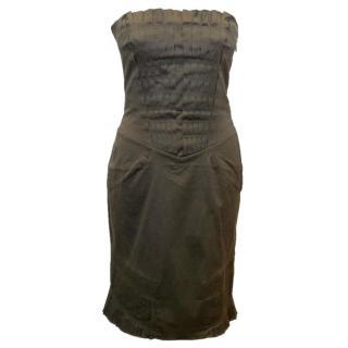 Gucci Dark Green Strapless Mini Dress