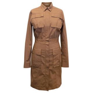 Bottega Veneta Brown Cotton Dress with Pockets