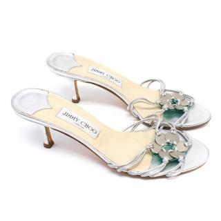 Jimmy Choo Silver Embellished Heeled Sandals