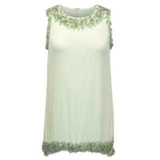 Gold Hawk Pastel Green Embellished Top