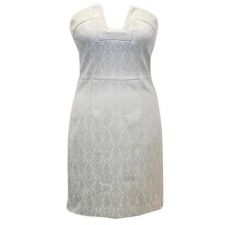 Josh V Light Blue Brocade Strapless Dress