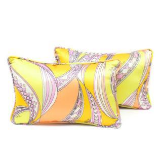 Emilio Pucci Yellow Print Silk Pillows