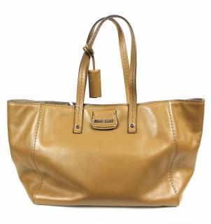 Miu Miu Large Montana Calf Leather Handbag in Brown