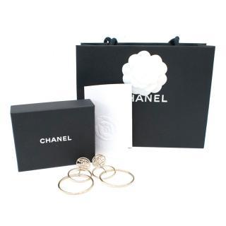 Chanel Gold Drop Hooped Earrings