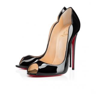 Christian Louboutin Hot Wave Peep Heels - Black 38.5